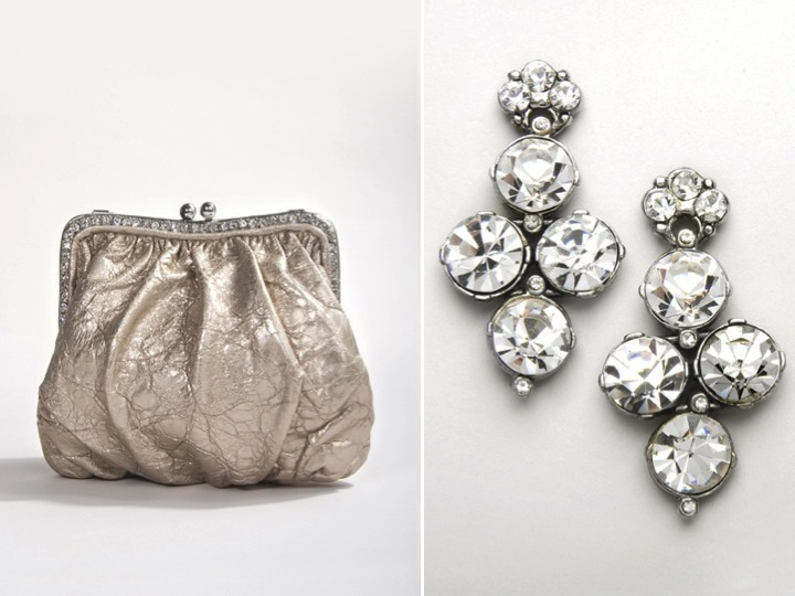 On-trend metallic bridal clutch and classic chandelier wedding earrings