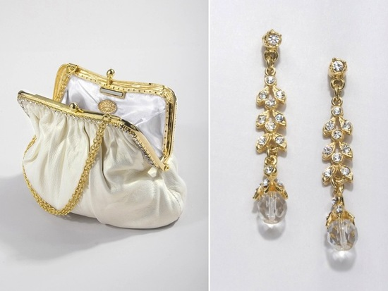 Ivory and gold designer bridal clutch and drop crystal wedding earrings