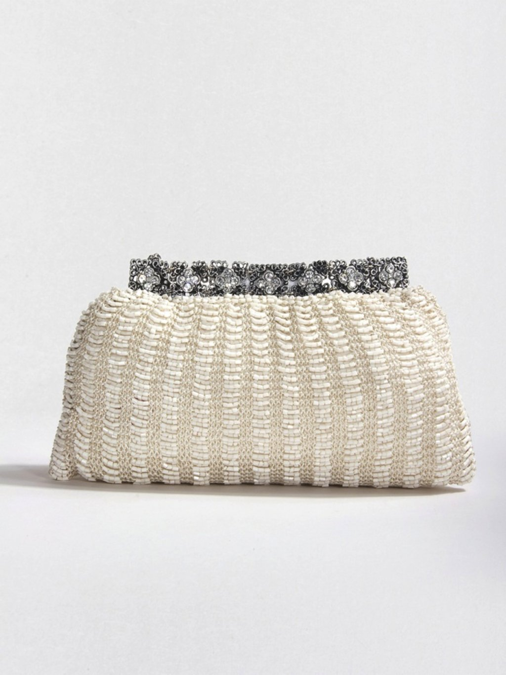 Vintage-inspired ivory beaded bridal clutch with Swarovski crystals
