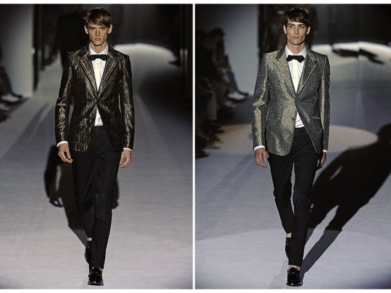 On-trend metallic tuxedo jackets with classic tuxedo pants for the stylish groom