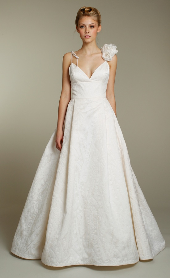 Classic ivory fall a-line spaghetti strap wedding dress with floral-embellished strap