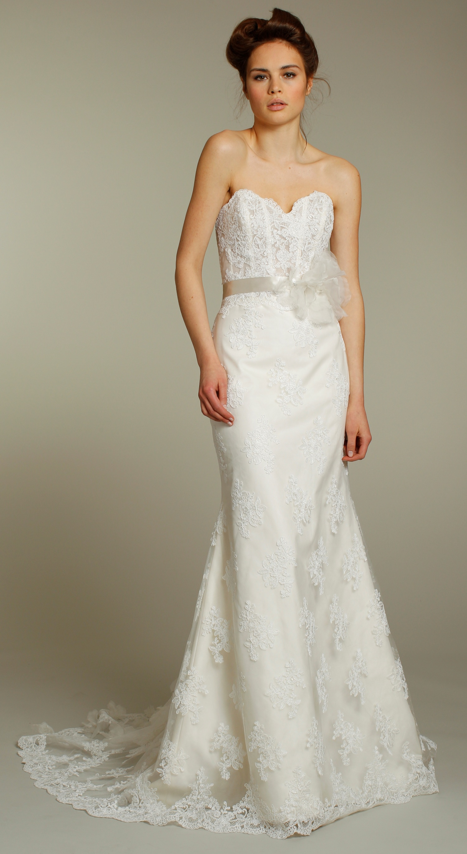 Romantic lace column wedding dress with spaghetti straps