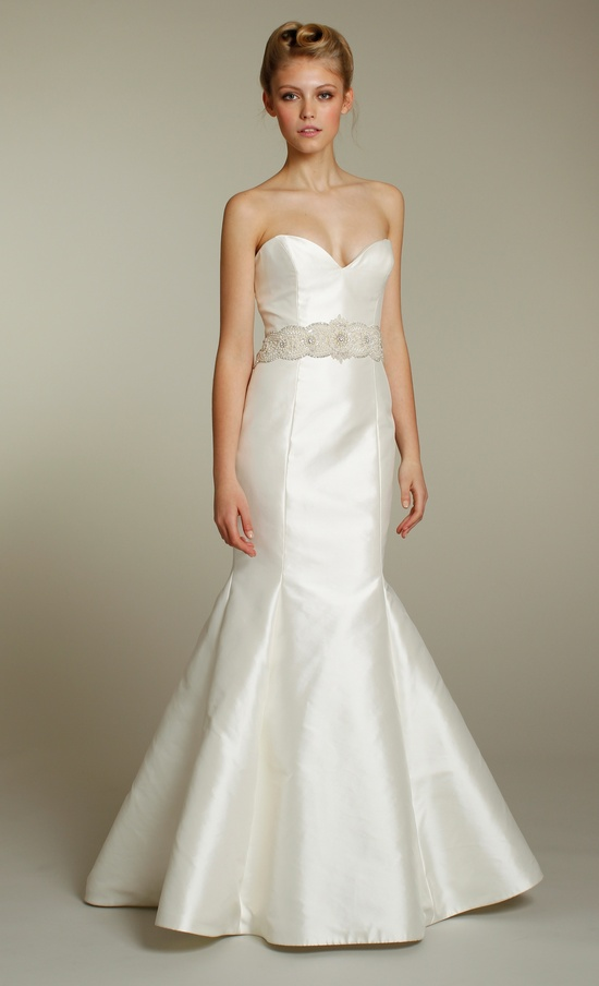 Sleek ivory sweetheart mermaid wedding dress with embellished sash