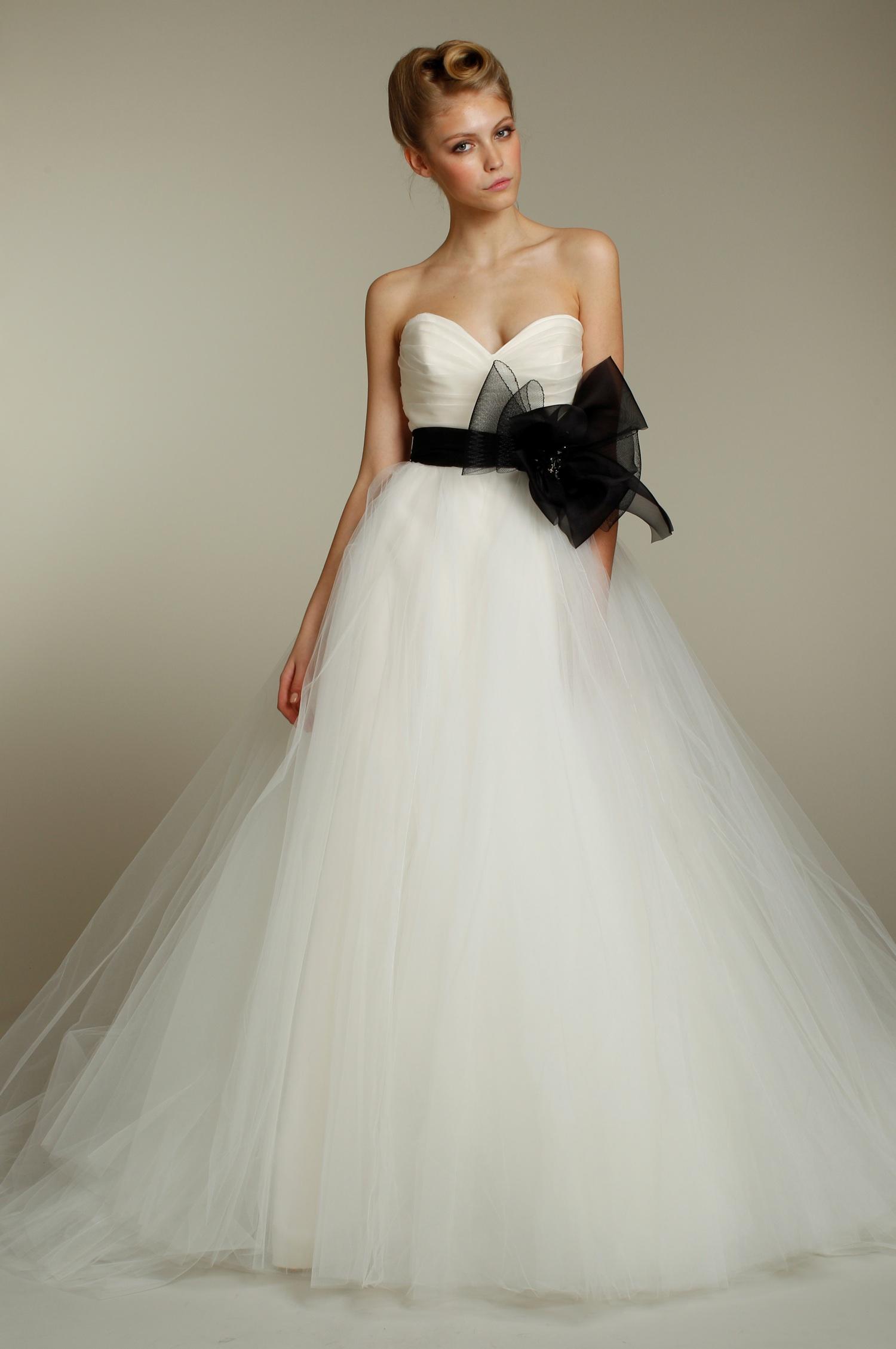 One shoulder ivory silk taffeta wedding dress with for Black tulle wedding dress