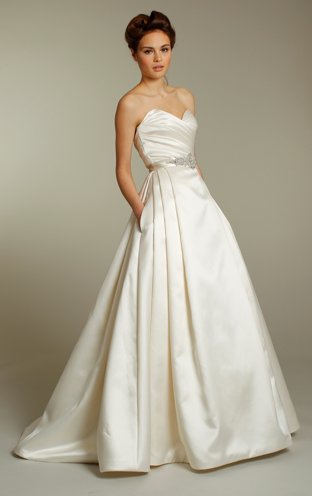 Classic ivory silk a line wedding dress with embellished for Ivory silk wedding dresses