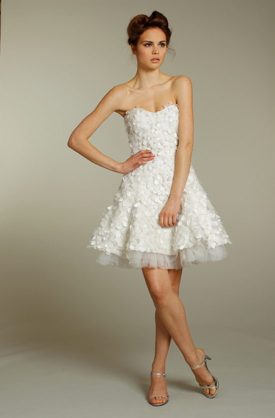 Adorable short embellished wedding reception dress