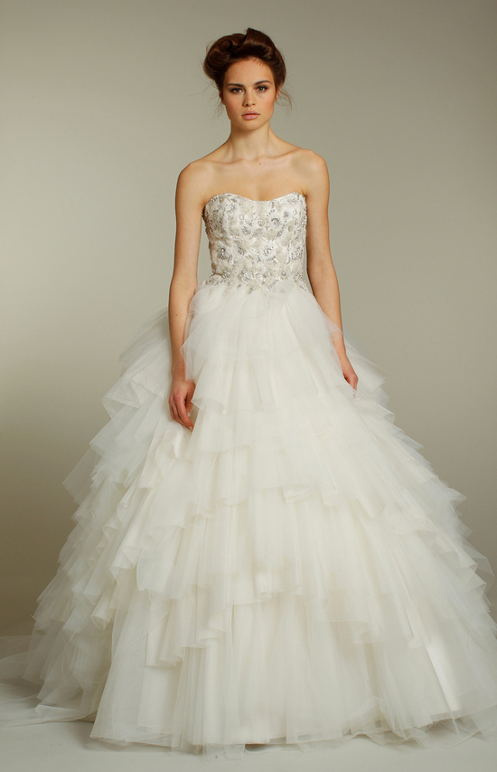 Romantic tulle ballgown with beaded strapless corset