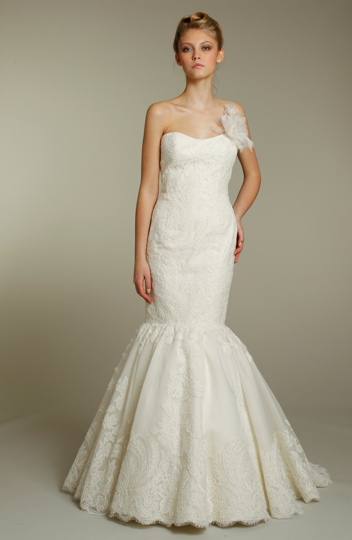 Romantic ivory lace drop waist mermaid wedding dress with for Lace drop waist wedding dress