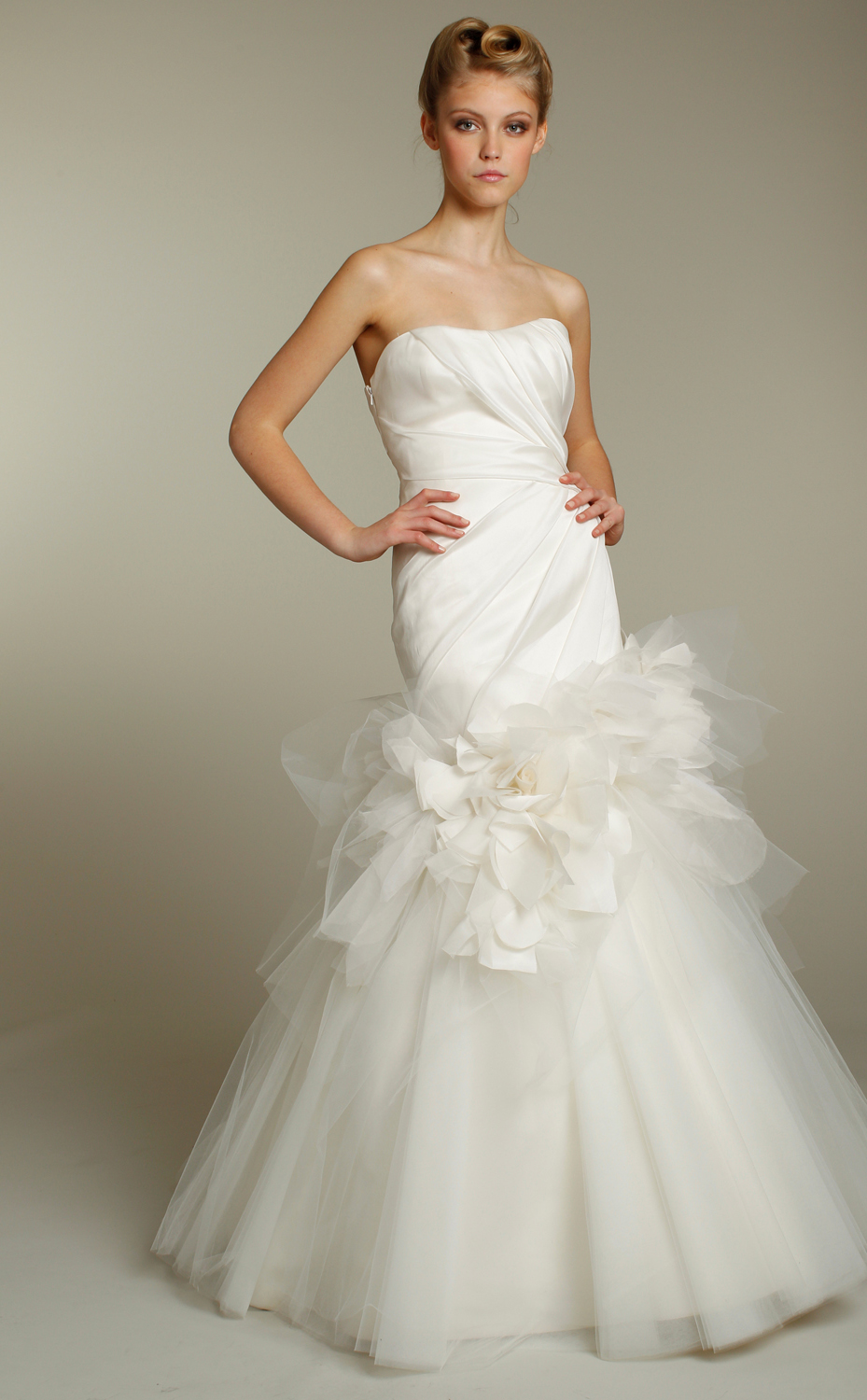 Romantic ivory strapless tulle mermaid wedding dress by for Jim hjelm wedding dresses