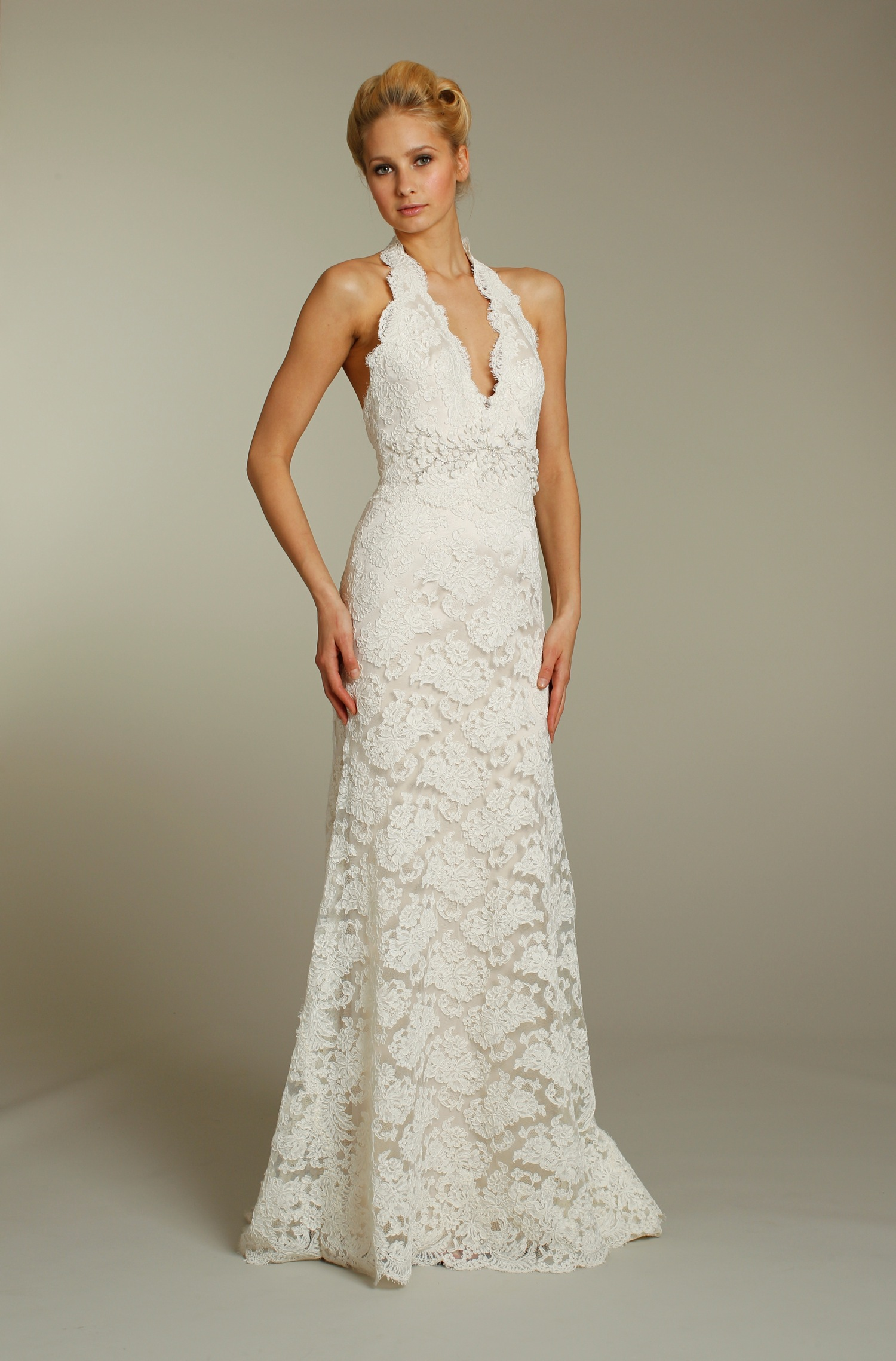 Ivory lace modified mermaid wedding dress with embellished for Jim hjelm wedding dresses
