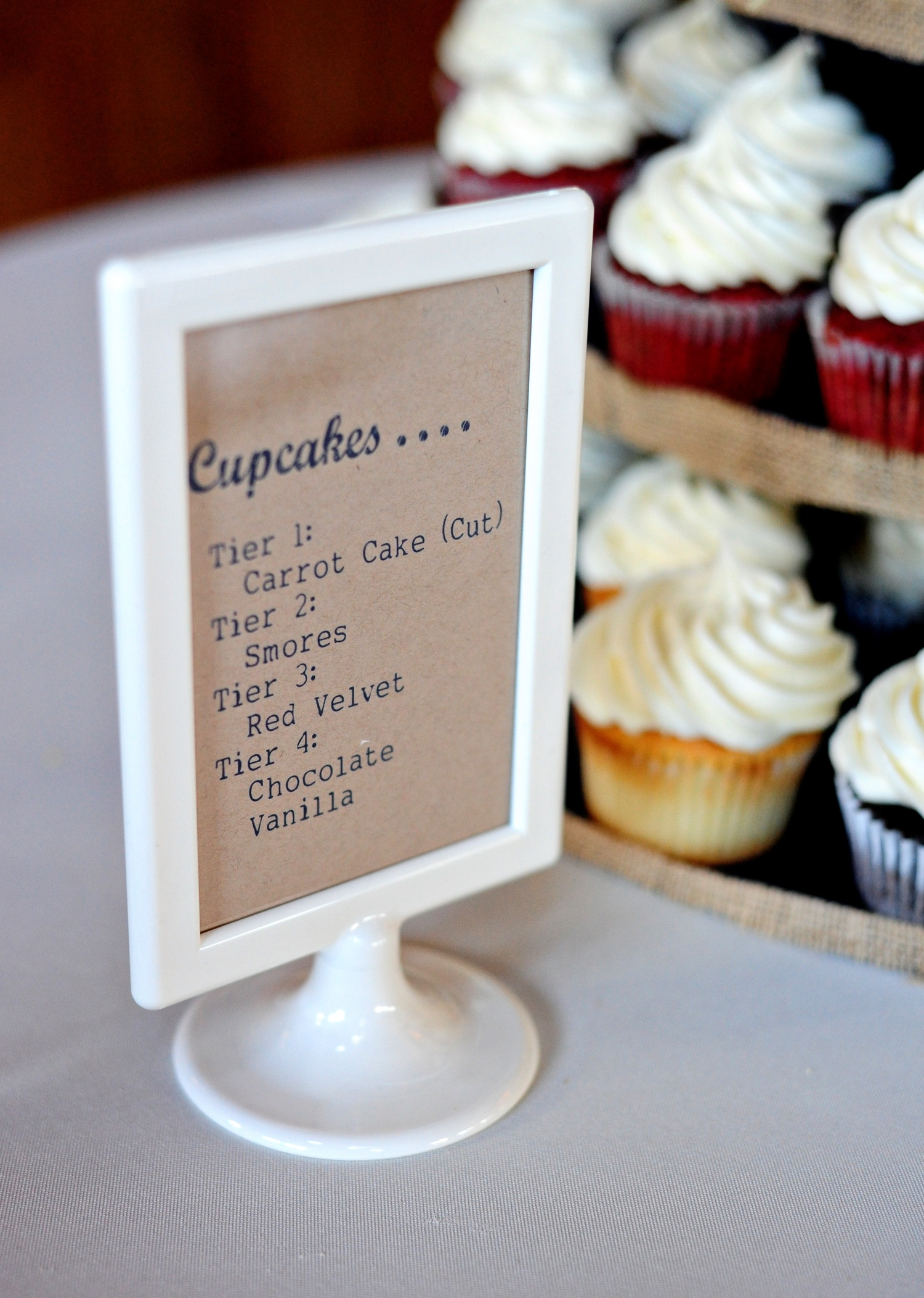 Rustic chic South Carolina wedding reception with cupcakes