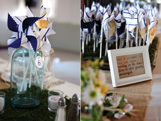 Adorable wedding reception escort card idea- personalized pinwheels