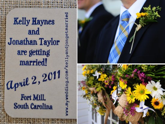 Linen and navy wedding invitations, white and yellow rustic chic wedding flowers