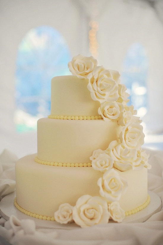 Classic white wedding cake with sugar flowers