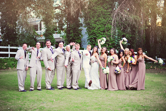 Fun bridal party in light grey and browns