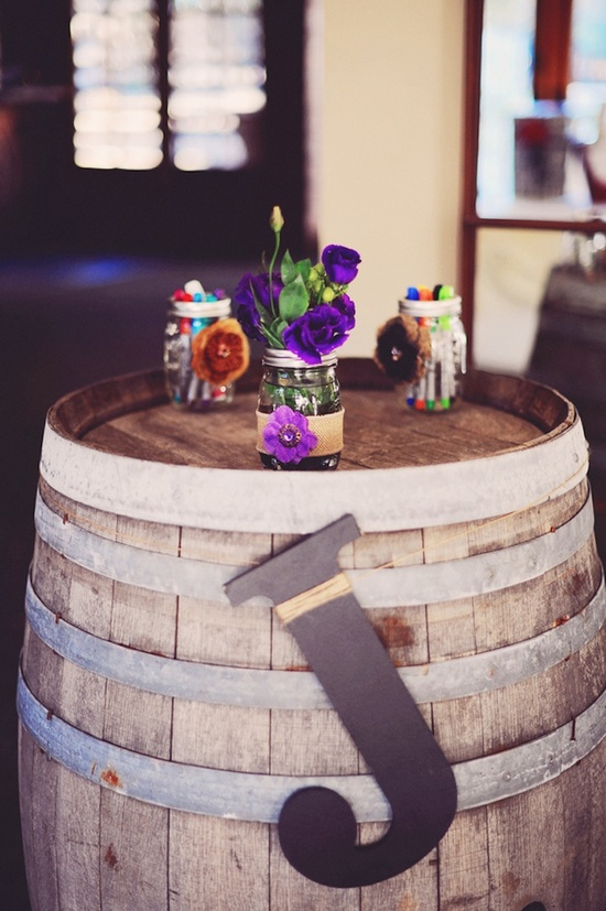 Old wine barrel as rustic bistro table