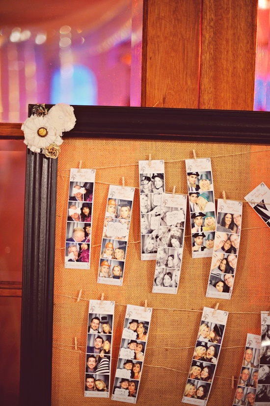 Photobooth guest book on cork board