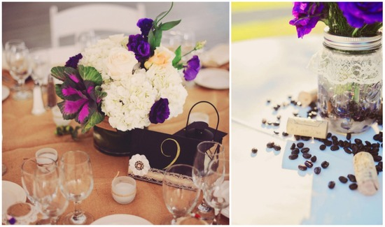 photo of Purple white and brown wedding decor