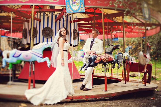 Real Wedding Couple on a Merry Go Round