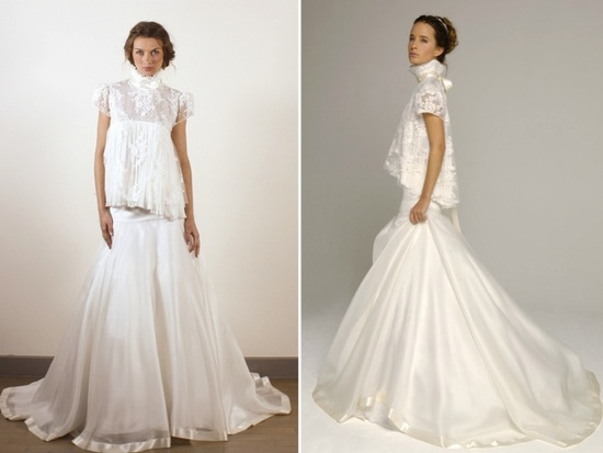 Celebrity inspired wedding dresses with long lace sleeves and classic a-line silhouette