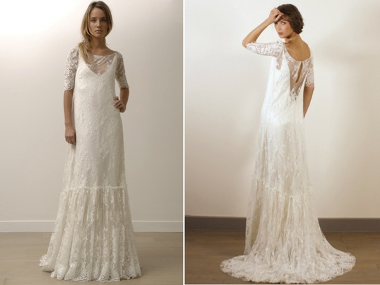 Romantic modified a-line lace wedding dresses by Lily Allen's dress designer