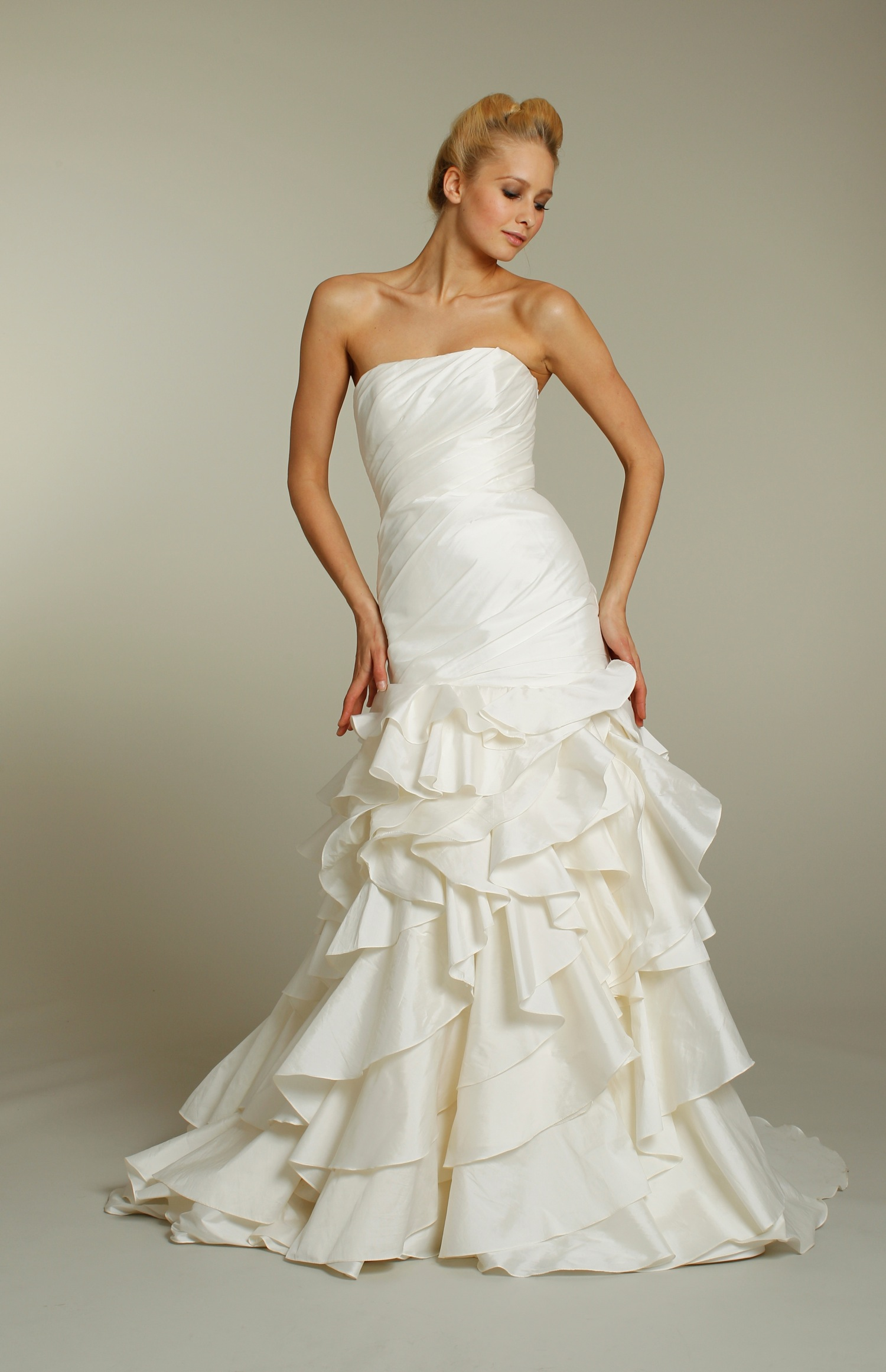 Strapless ivory drop waist bridal gown with ruffle for Drop waist wedding dress body type