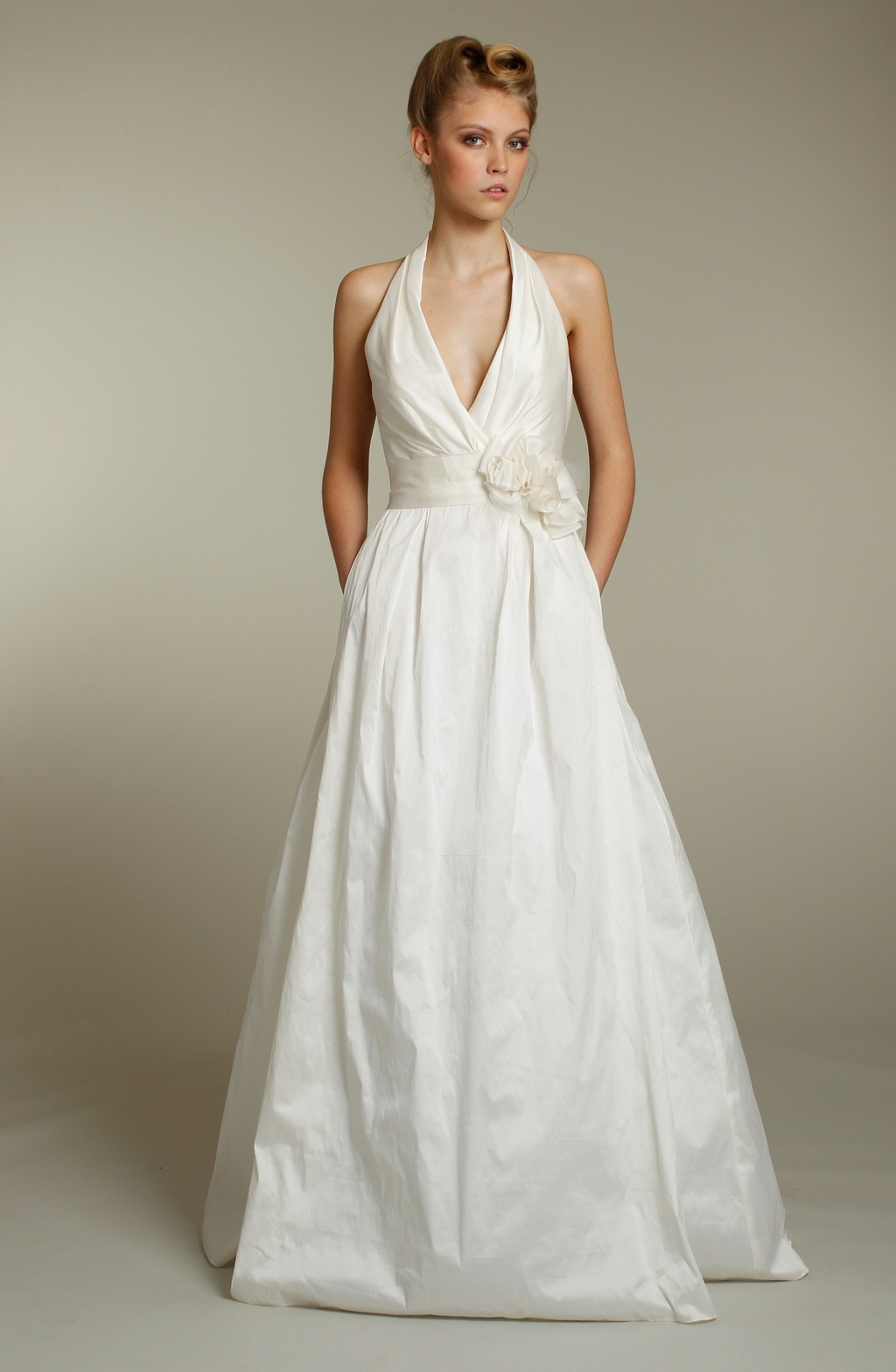 Classic ivory halter a line wedding dress with pockets and for Ivory wedding dress sash