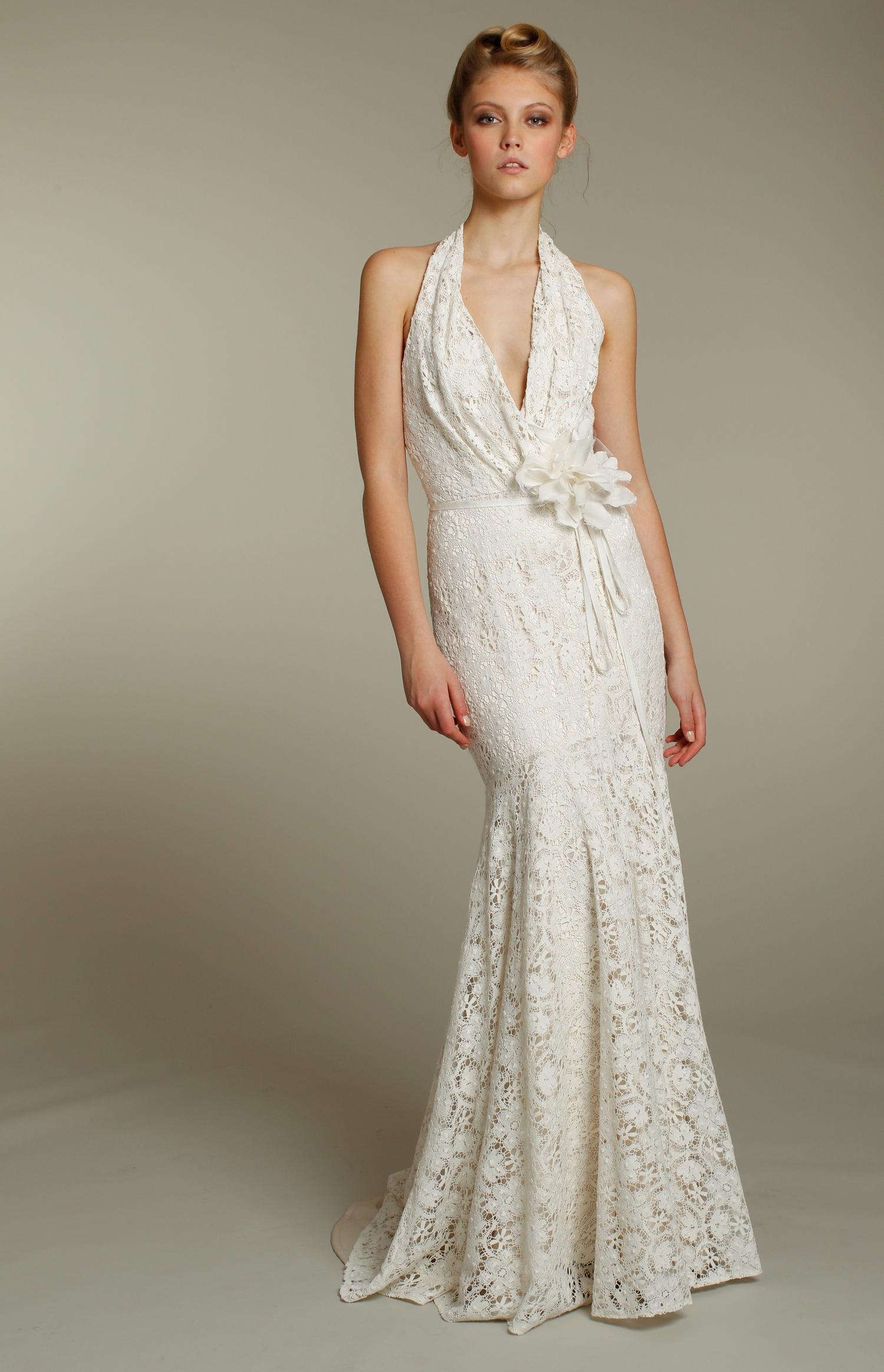 White Halter Short Wedding Dress
