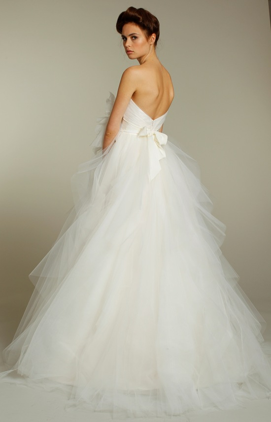 Romantic tulle strapless ball gown wedding dress from Fall 2011 Blush bridal collection with bow det