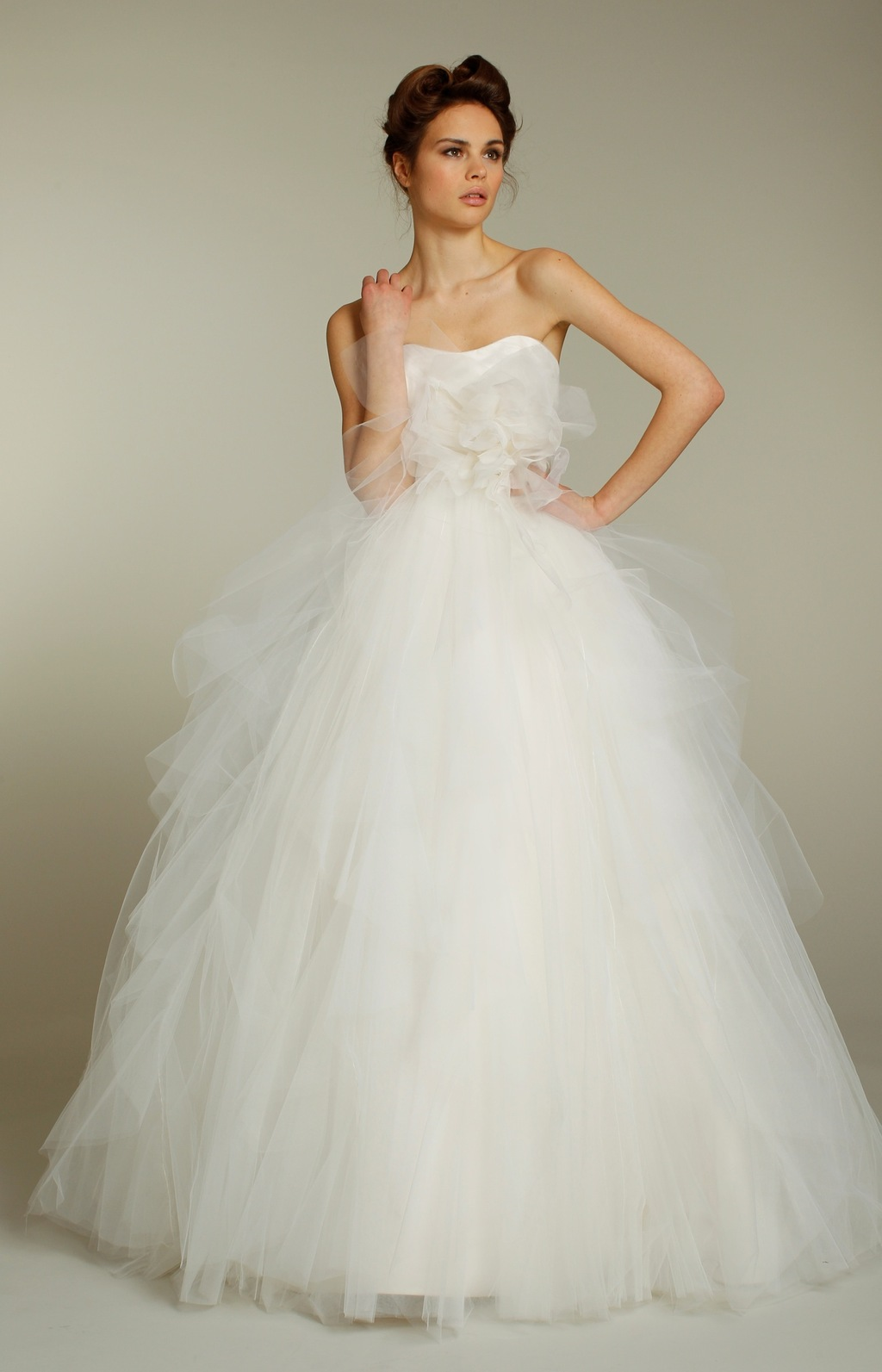 romantic tulle strapless ball gown wedding dress from fall