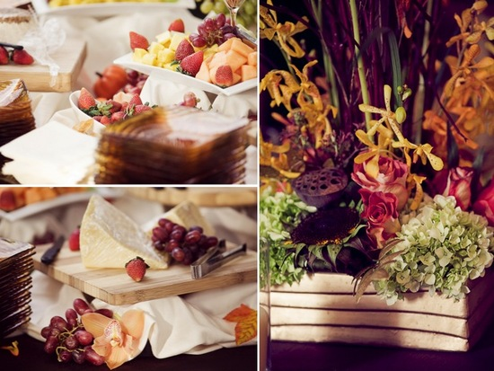 European-inspired cheese and fruit wedding reception appetizer and a whimsical wedding centerpiece