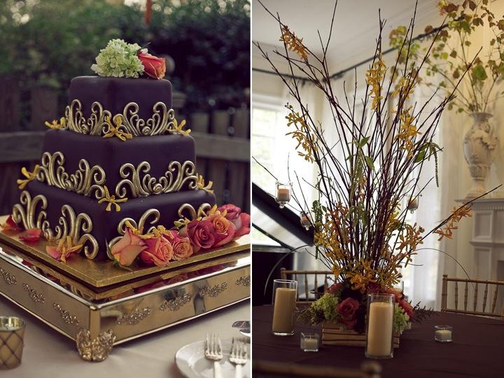 Classic chocolate fondant tier wedding cake adorned with