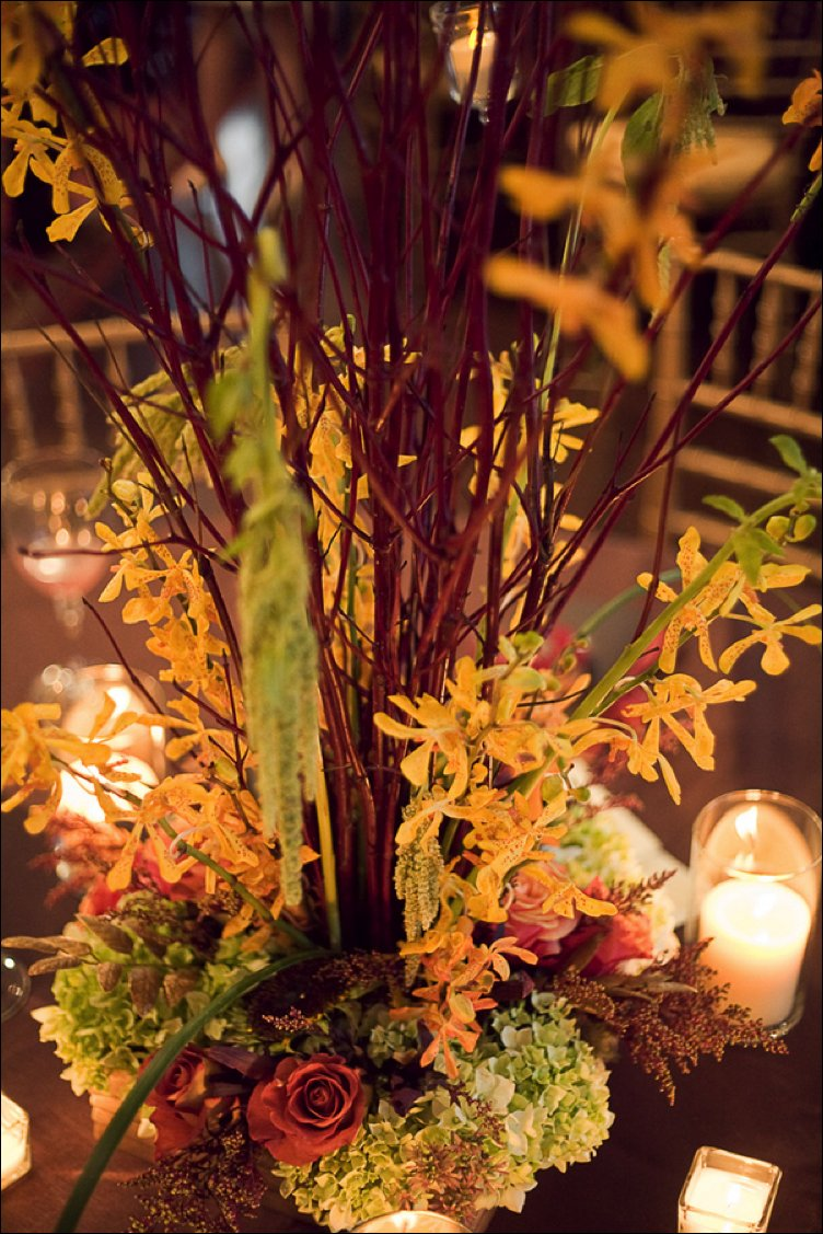 Romantic fall wedding reception decor and centerpieces with manzanilla branches