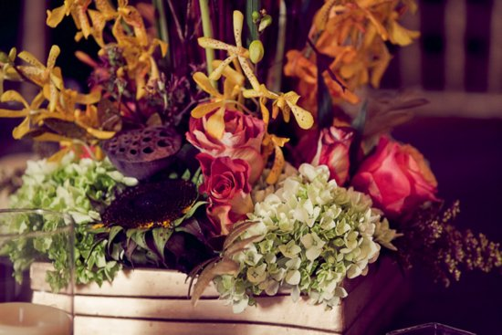 Stunning rich fall wedding flowers (DIY by the bride) for North Carolina wedding