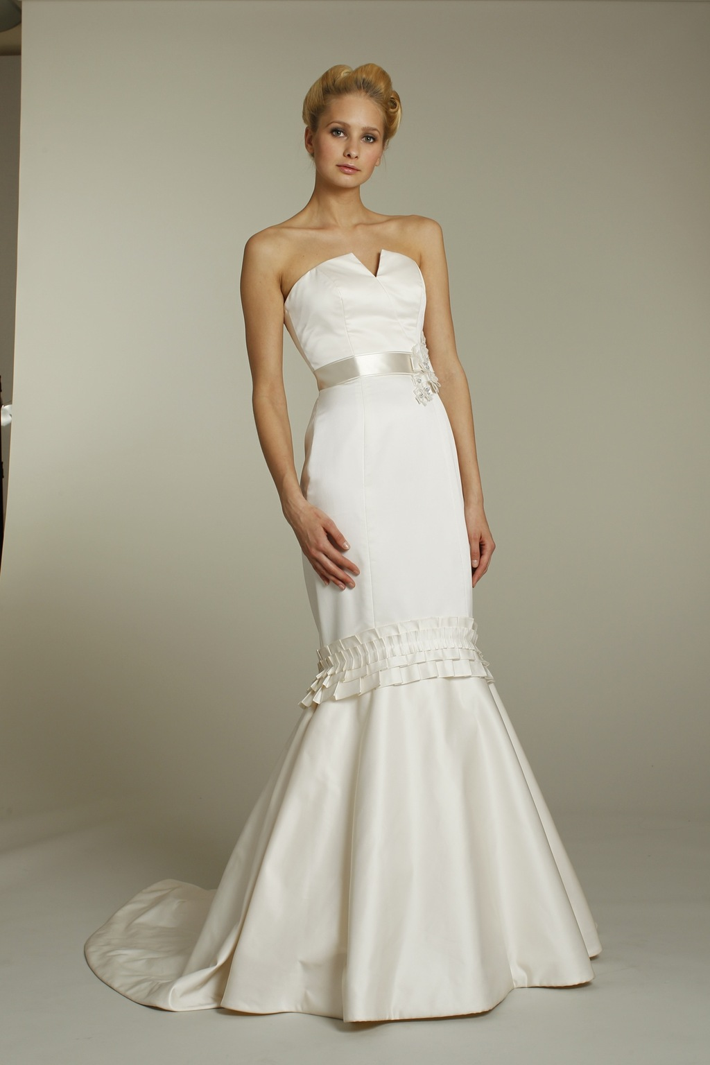 Ivory silk strapless mermaid wedding dress with notched for Satin silk wedding dresses