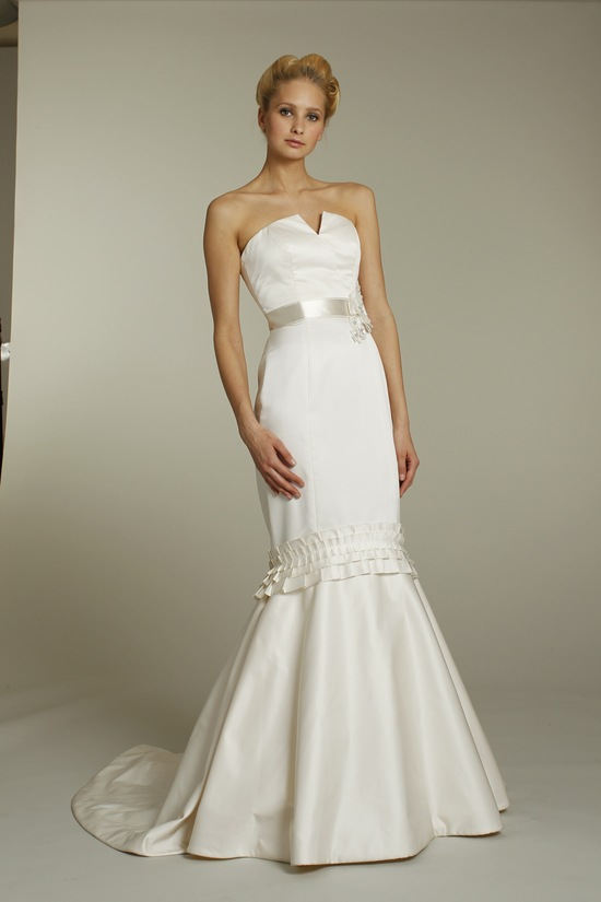 Ivory silk strapless mermaid wedding dress with notched neckline and satin ribbon sash
