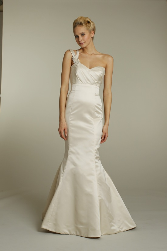 Champagne satin one-shoulder Alvina Valenta mermaid wedding dress