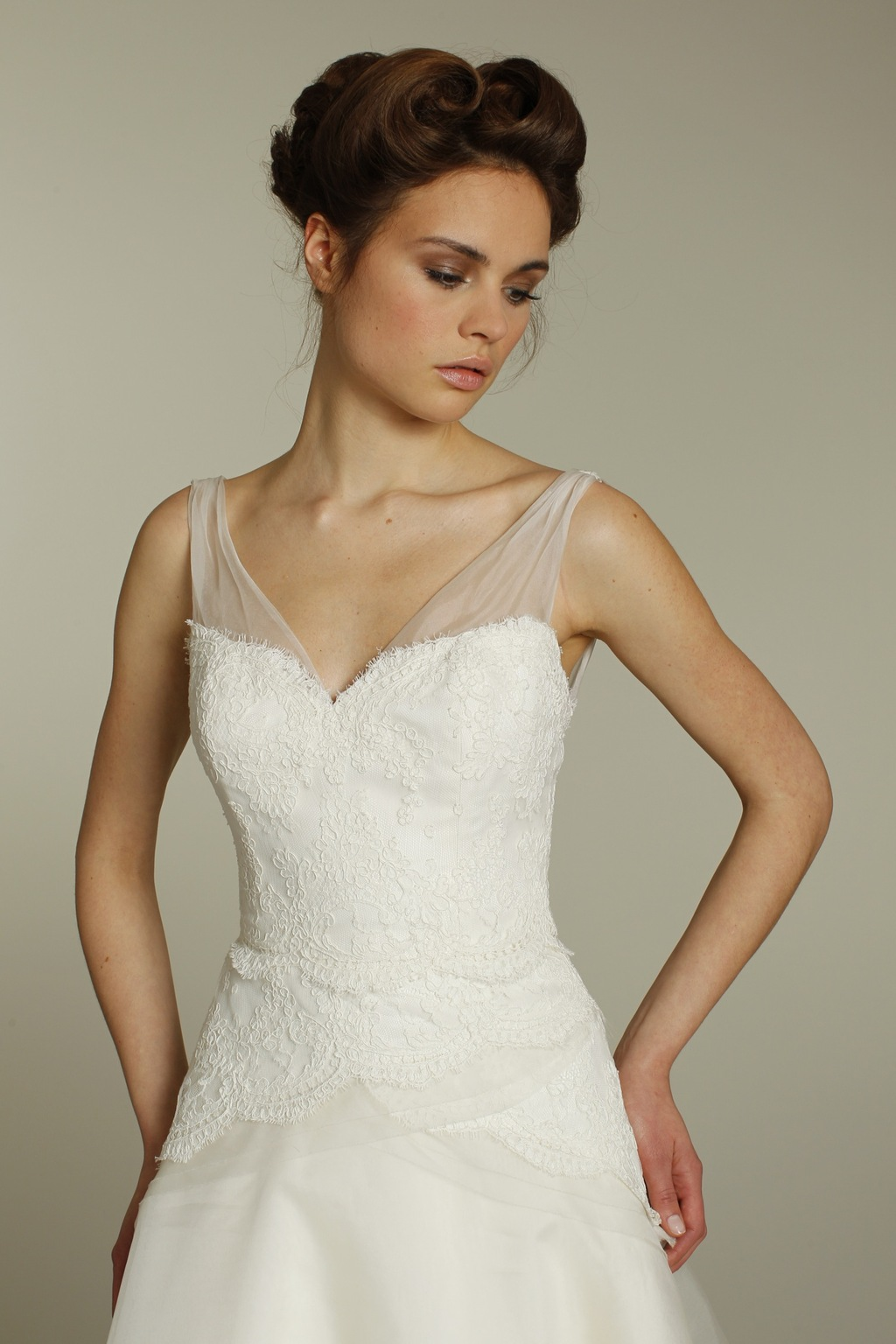 Ivory A Line Alvina Valenta Wedding Dress With On Trend Sheer Illusion Straps And Lace Applique