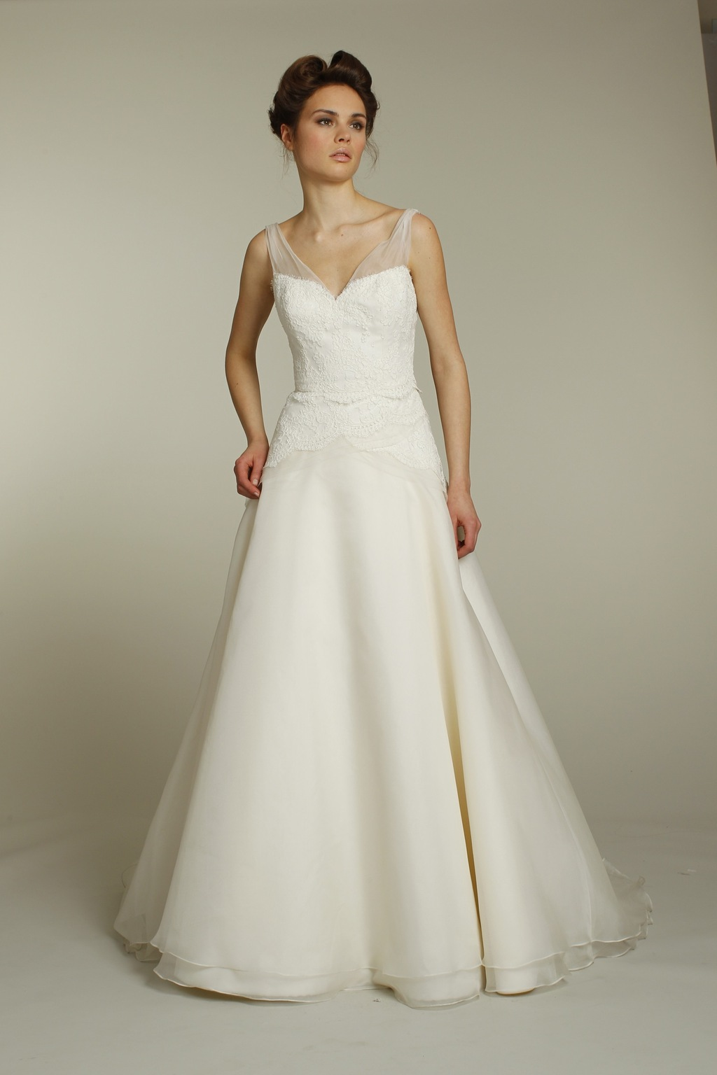 Classic ivory a-line wedding dress with lace applique and sheer ...