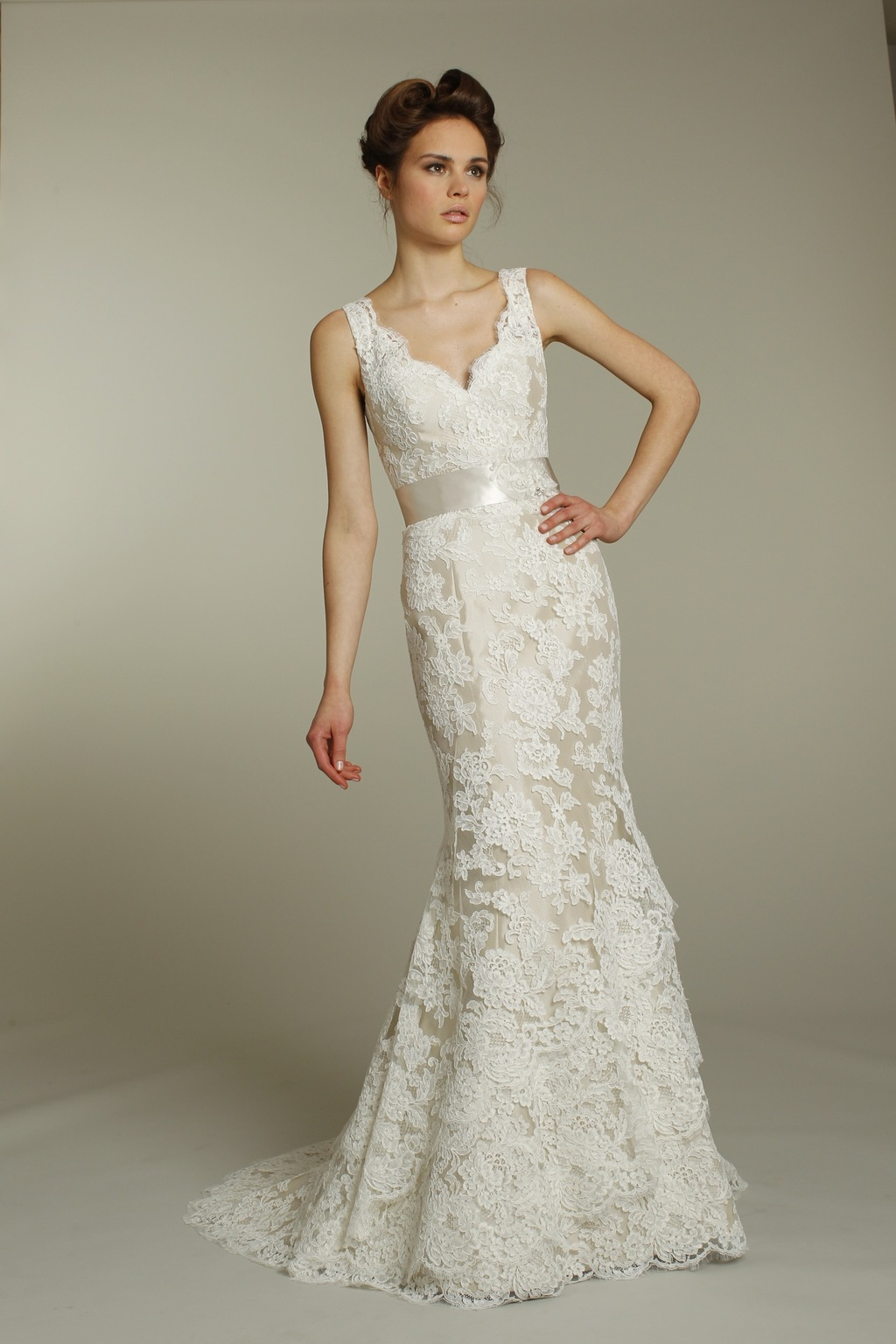 Romantic ivory v-neck lace wedding dress with champagne ribbon sash