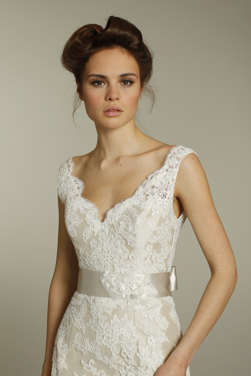 Romantic ivory v neck lace wedding dress with champagne for Lacy wedding dresses