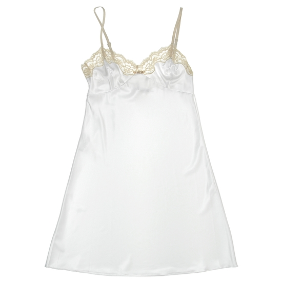 Romantic white silk bridal chemise with champagne lace at bust