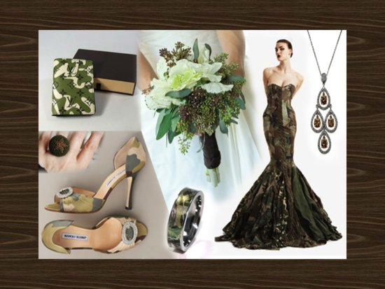 Chic camouflage wedding style board with mermaid bridal gown and chic peep-toe heels