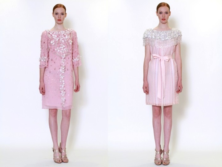 Light pink embellished rehearsal dinner dresses by Marchesa