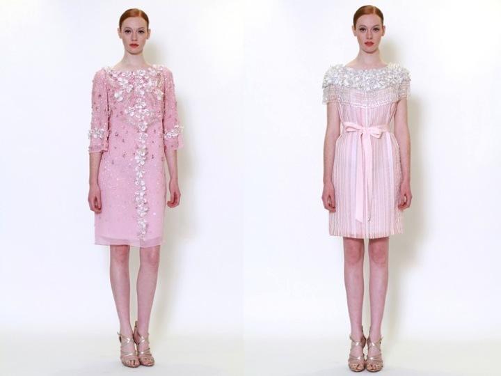 Light pink embellished rehearsal dinner dresses by marchesa for Dresses for wedding rehearsal dinner