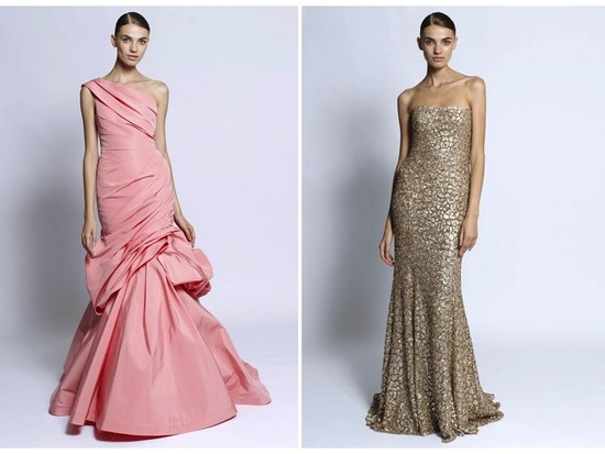 Swoon-worthy one-shoulder pink mermaid gown and strapless gold beaded dress by Monique Lhuillier