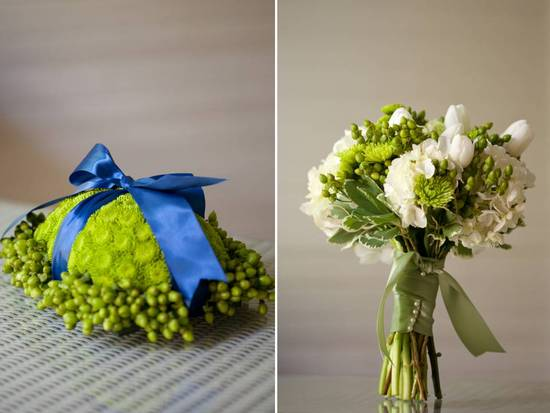 Gorgeous bright green and blue DIY ring bearer pillow and elegant ivory bridal bouquet