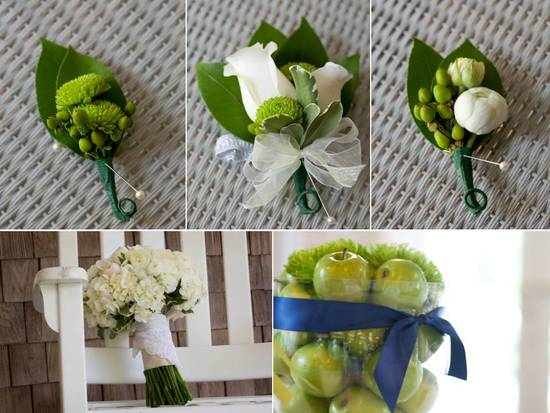 Classic ivory and green fresh flower boutonierres for Florida groom and groomsmen