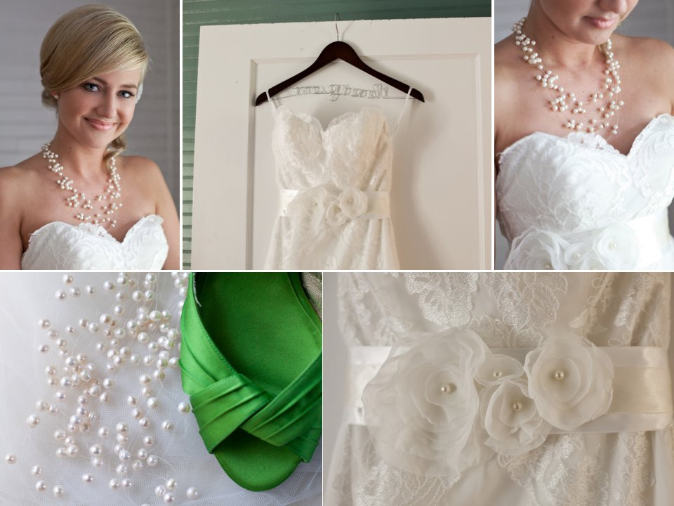 Outdoor-florida-wedding-green-peep-toe-bridal-heels-white-lace-wedding-dress-pearls-wedding-necklace-accessories.full