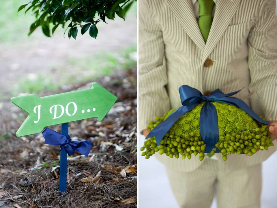 Custom green and white I Do wedding sign and a DIY ring bearer pillow